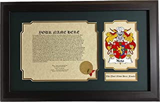 Neto - Coat of Arms and Last Name History, 14x22 Inches Matted and Framed