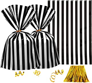 53c67b54a8 Clear Plastic Cellophane Treat Bags - Black White Stripes Party Favors  Cello Bags Wedding Baby Shower
