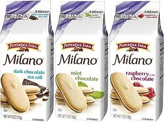 PepperidgeFarm Dark Chocolate Sea Salt 6 oz, Mint & Raspberry Flavored Chocolate 7 oz. Milano Cookies