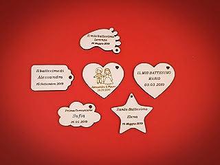 ArtigianeriA - Set di 20 (o più) etichette realizzate in legno, ideali come SEGNAPOSTO o BOMBONIERE fai da te per Battesim...