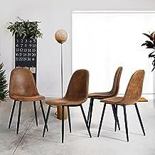 LeMonde Sillas de Comedor Juego de 4 Sillas de Comedor Sillas de Cuero Artificial de Cuero escandinavo de Gamuza Retro Vintage marrón