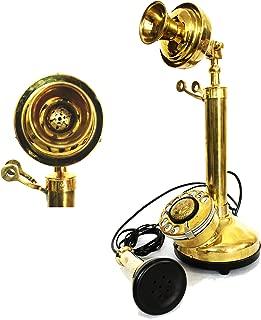 Shiny Brass Rotary Telephone Candle Stick Table Decorative Gift Item Telephone