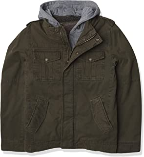 Men's Washed Cotton Military Jacket with Removable Hood (Standard and Big & Tall)