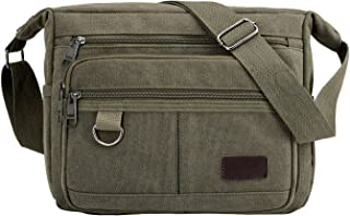 Multifunctional Vintage Canvas Crossbody Bag for Men Women, Travel Unisex Sling Bag (Army Green)