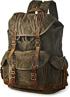 Men's Heavy Duty Canvas Genuine Leather Buckle Cargo Pocket Utility Cinched Backpack