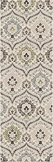 Superior Designer Augusta Collection Area Rug, 8mm Pile Height with Jute Backing, Beautiful Floral Scalloped Pattern, Anti-Static, Water-Repellent Rugs - Beige, 2'7