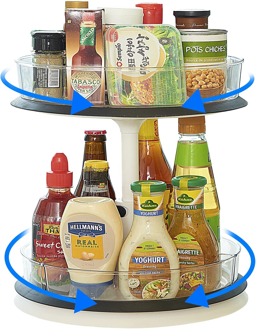 2-Tier Lazy Susan Turntable Organizer with 4 Removable Clear Storage Bins, Height Adjustable Spice Rack for Table, Cabinet, Pantry, Kitchen Counter. Smooth Action, Easy Access