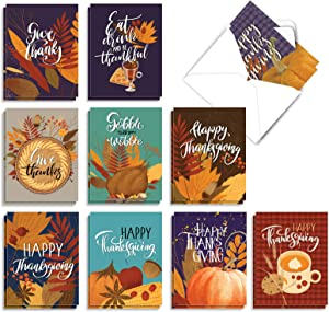 The Best Card Company - 20 Thanksgiving Cards (4 x 5.12 Inch) - Yummy Turkey Dinner, Happy Holiday (10 Designs, 2 Each) - Giving Thanks AM9178TGG-B2x10