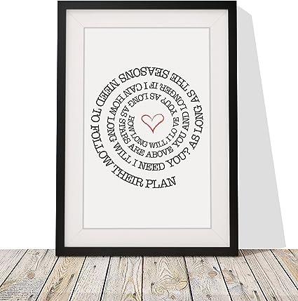 1st Anniversaire De Mariage Imprimé A4 Cadeau Personnalisé Mot Art non encadrés ou encadrée
