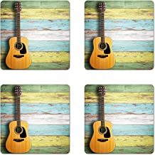 Ambesonne Music Coaster Set of 4, Acoustic Guitar on Colorful Painted Aged Wooden Planks Rustic Country Design Print, Square Hardboard Gloss Coasters, Standard Size, Yellow Green