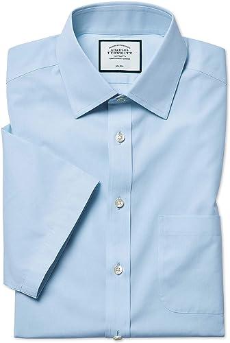 Slim Fit Non-Iron Natural Cool manche courte Sky bleu Shirt   Bleu Ciel   15   courte