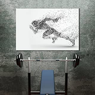 wall26 - Canvas Wall Art Sports Theme - Abstract Shape a Running Man Formed Dots - Giclee Print Gallery Wrap Modern Home Decor Ready to Hang - 24x36 inches