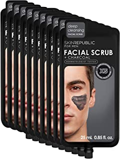 Skin Republic Charcoal Facial Scrub Cleans Pores and Exfoliates Skin One Pack has 5 Applications 10 Pack