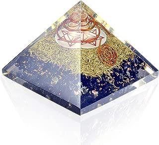 Orgone Pyramid Energy Generator - Earth Star Chakra Symbol Orgonite Black Tourmaline Crystal Pyramid with Brass Metal for EMF Protection - Chakra Balancing-Healing-Meditation-Yoga
