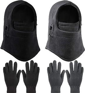 2 Pieces Kid Winter Windproof Hat with 2 Pairs Kid's Polar Fleece Gloves Full Fingers Gloves, Boys Girls Fleece Gloves, Ki...