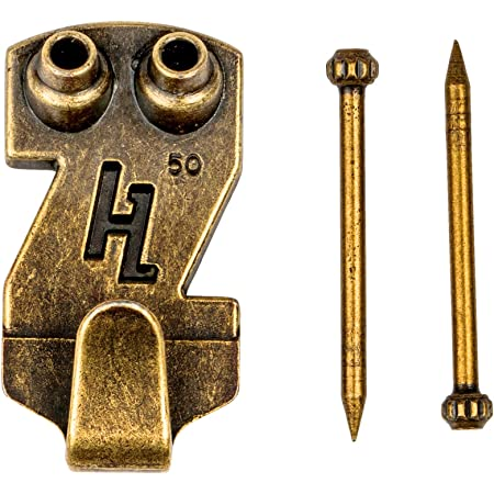 Pictures Mirrors Heavy Duty Picture Hooks Rated 20kgs Brass Finish Pack of 2