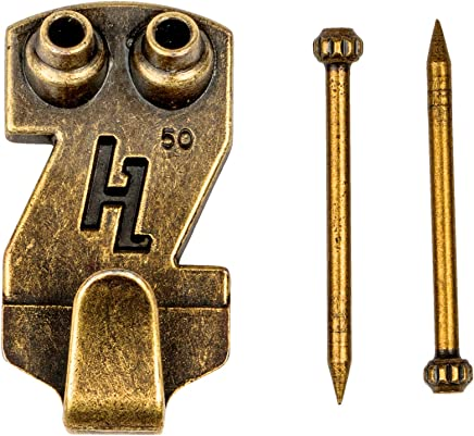 HangZ 30005B Gallery Picture Hooks (50 Pack), 50 lb, Antique Brass