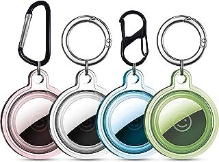 Hoesje voor Airtags, Sleutelhanger voor Airtag Houder Case, 4 Pack Siliconen Beschermhoes Cover met Air Tag Sleutelhanger ...