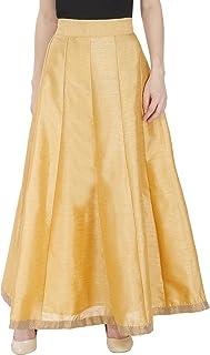 DAMEN MODE Women Golden Solid Modern Silk Skirt with Border Free Size