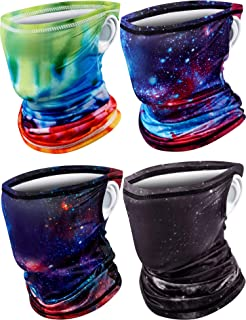 4 Pieces Kids Neck Gaiters with Ear Loops Face Cover Bandana Cooling Outdoor Scarf Dust Wind Balaclava Headwear for Boys G...