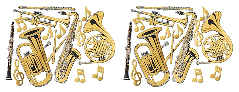 Beistle S55567AZ2 Gold Foil Musical Instrument Cutouts 30 Piece, 17