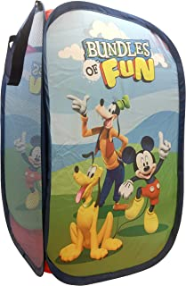 Jay Franco Disney Mickey Mouse Clubhouse Field Trip Pop Up Hamper - Features Mikey, Goofy, Pluto - Mesh Laundry Basket/Bag with Durable Handles, 22
