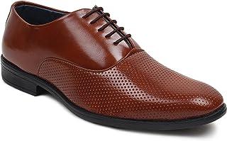BUWCH Men Formal Black Synthetic Leather Derby Shoe