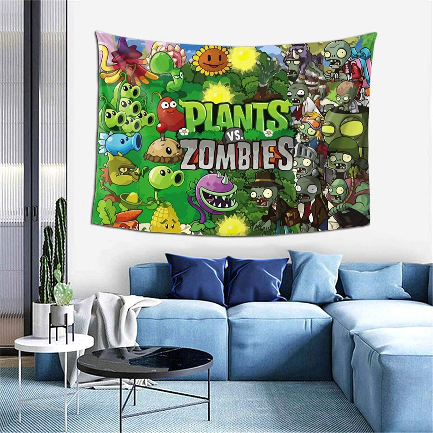 Vividuke Plants Vs Zom-bies Tapestry Light Weight Soft Wall Hanging Tapestries Wall Blanket Wall Art for Outdoor Indoor Bedroom Living Room Dorm Decor One Size
