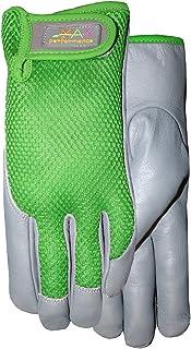 MidWest Gloves & Gear 145H8GR-8-AZ-6 Ladies Garden Glove, 8, Gray LEATHER green Mesh