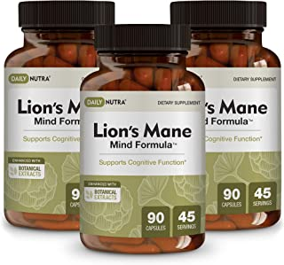 Lion's Mane Mind Formula by DailyNutra - Nootropic Supplement for Cognitive Health   Organic Mushroom Extract with Bacopa, Gingko, Gota Kola, and Huperzine-A (3-Pack)