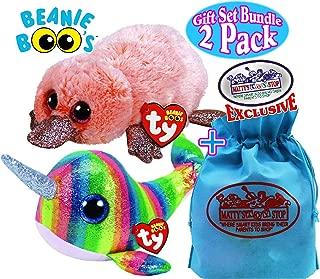 Ty Beanie Boos Sea Creatures Nori (Narwhal) & Wilma (Platypus) Gift Set Bundle with Bonus Matty's Toy Stop Storage Bag - 2 Pack