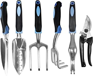 ARTIPOLY Garden Tool Set, 6-Piece Aluminum Lightweight Hand Tool Set Gift, with Soft Rubber Non-Slip Handle, Durable Gardening Gift Set for Men and Women