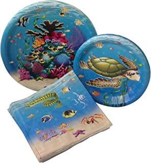 Under the Sea Birthday Party Bundle with Paper Plates and Napkins for 8 Guests