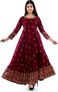 P.K Kurties Rayon Printed Anarkali Gown