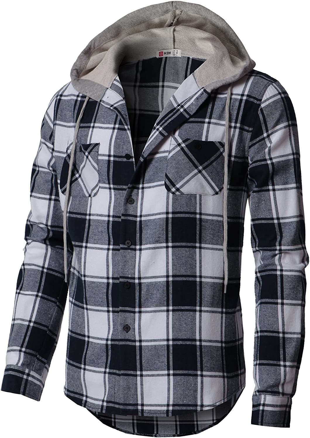 H2H Mens Casual Hoodie Jackets Lightweight Long & Short Sleeve with Pockets
