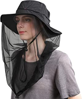 Flammi Mosquito Head Net Hat Safari Hat UPF 50+ Sun Bucket Hat with Face Neck Mesh Protection for Men Women