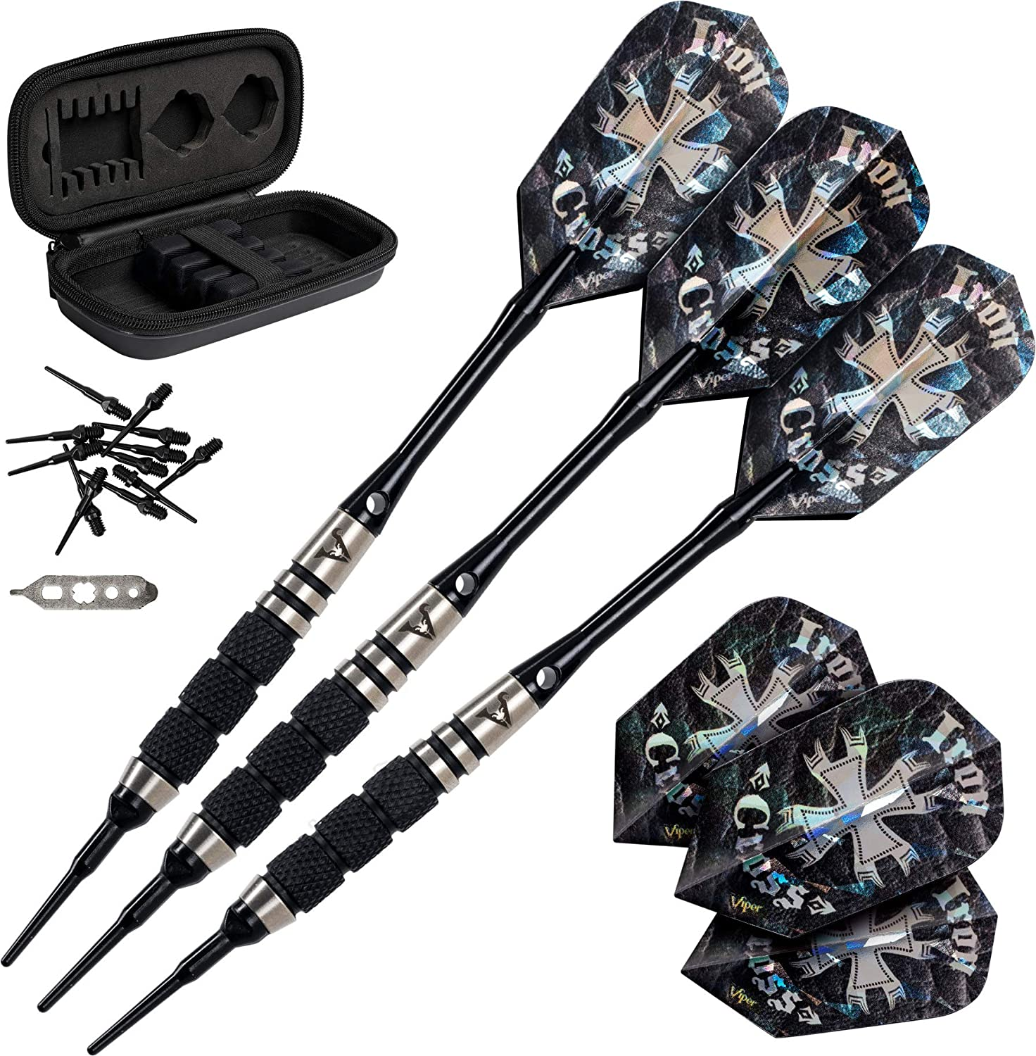 Viper Desperado 80% Tungsten Soft Tip Darts with Storage Travel Case  Iron Cross, 18 Grams