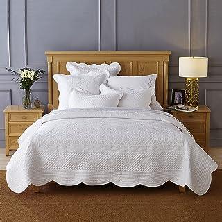Calla Angel Sage Garden Luxury Pure Cotton Quilt, Queen, White
