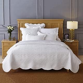 Calla Angel Sage Garden Luxury Pure Cotton Quilt, King, White