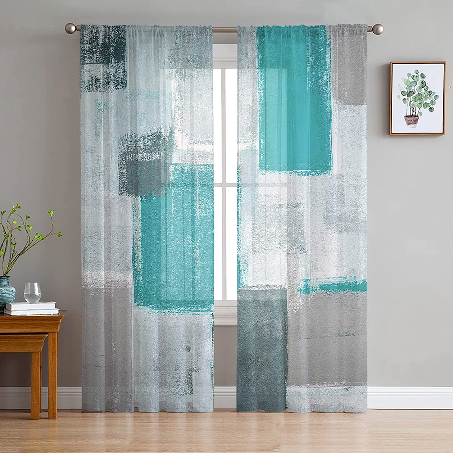 Semi Sheer Curtains 84 Inches Long for Bedroom Living Room Decor,2 Panels Thermal Insulated Grommet Window Curtain,Turquoise and Grey Abstract Geometric Window Treatments Curtains Drapes