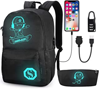 School Backpack, Pawsky Anime Luminous Backpack with USB Charging Port, Anti Theft Lock and Pencil Case for Teen Boys and Girls, College School Bookbag Lightweight Laptop Bag, Black