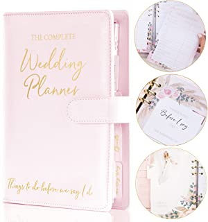 Wedding Planner Book and Organizer for The Bride – Boho Pink Faux Leather Wedding Planning Book for Future Mrs I Engagemen... photo