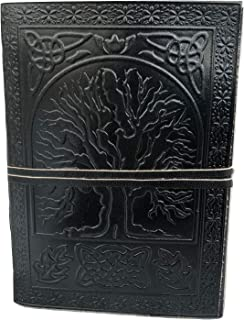 Leather Journal Diary Embossed Large Tree Notebook for Writing Leather Diary Handmade Leather Journal (57, Black)