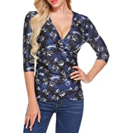 ACEVOG Women's Sexy Wrap Front Floral Print V Neck Ruched Half Sleeve Blouse Top