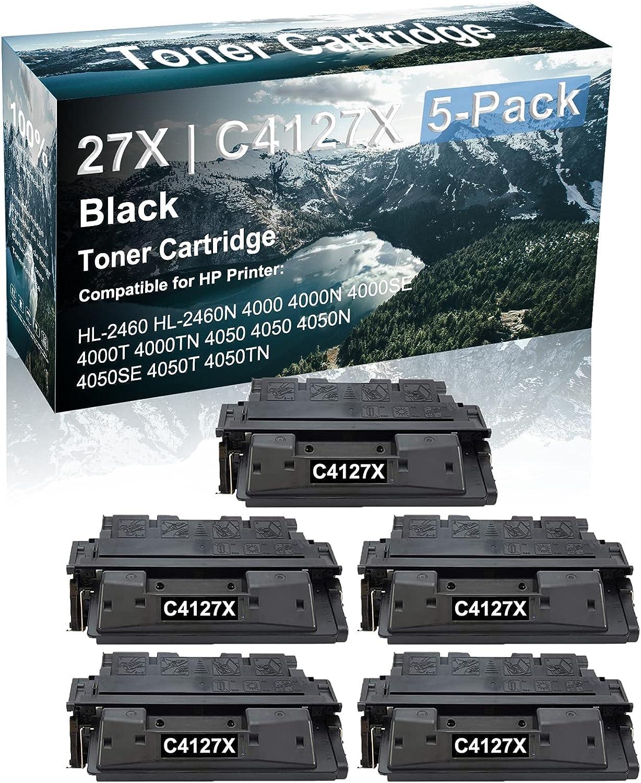 5 Pack Compatible High Capacity 27X   C4127X Black Toner Cartridge use for HP 4050N 4050SE 4050T 4050TN Printer (Black)