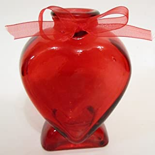 Heart-Shaped Red Glass Bud Vase With Bow - 5 in.