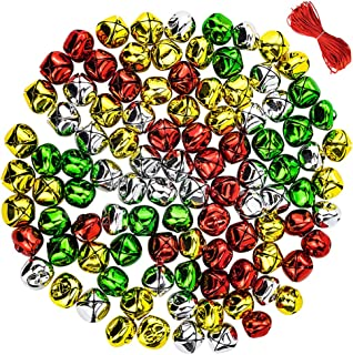 CEWOR 100pcs 1inch Jingle Bells Colorful Christmas Metal Bells Craft for Festival Decoration DIY Charms Jewelry Making (100pcs)