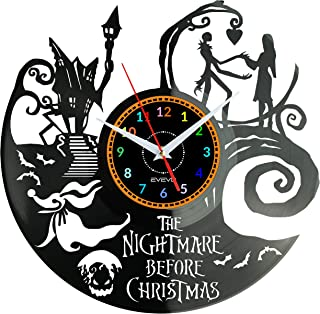 EVEVO The Nightmare Before Christmas Wanduhr Vinyl Schallplatte Retro-Uhr Handgefertigt..