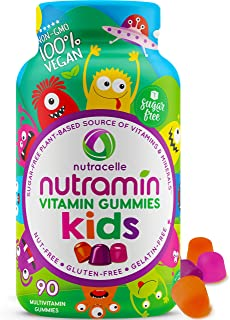 NUTRAMIN Multivitamins for Kids, Sugar-Free, Vegan Gummy Vitamins, Zinc, Vitamin D3, Vitamin B12 Methyl, Vitamin B6, Vitam...