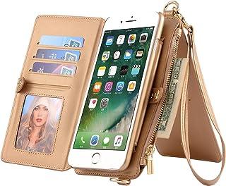 iPhone/Samsung Phone Case Zipper Wallet [Kickstand Feature][Wrist/Long Strap] Detachable Case Buckle Purse